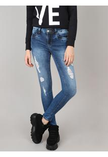 Calça Jeans Feminina Sawary Super Skinny Destroyed Azul Médio