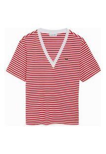 Camiseta Lacoste Gola V Vermelho