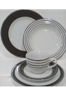 Aparelho De Jantar E Chá Porcelana Schmidt 30 Peças - Dec. Paula Black
