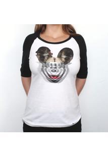 Glitchey - Camiseta Raglan Manga Longa Feminina