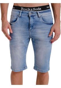 Bermuda Rock&Soda Masculina Skinny Jeans Com Bolsos Casual Azul Claro 36
