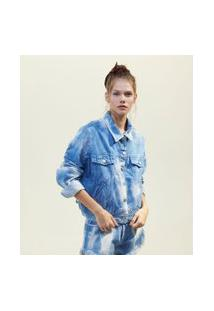 Jaqueta Jeans Tie Dye Com Bolsos E Máscara De Tecido | Blue Steel | Azul | P