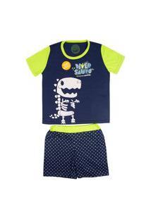 Pijama Fosforescente Short Infantil Masculino 4 - Diversauro