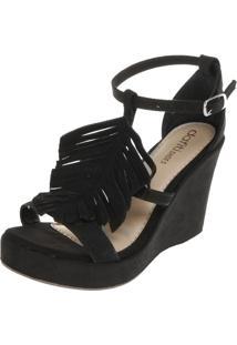 f6e08d6b8 Sandália Dafiti Shoes Anabela Franja Preta