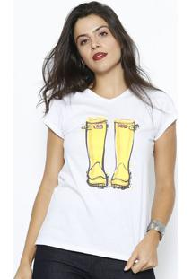 Camiseta Botas- Branca & Amarelaclub Polo Collection