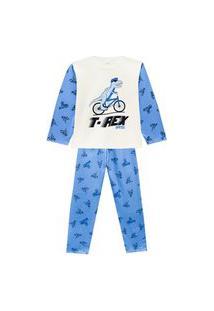 Pijama Juvenil Abrange T-Rex Na Bicicleta Natural E Azul Abrange Casual Off-White