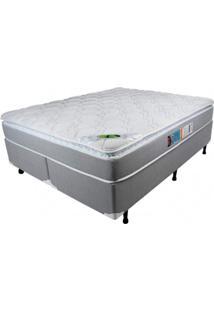 Cama Box Queen 158Cmx198Cmx71Cm Molas Ensacadas Pillow Top Maxi Life Luckspuma Colchões Cinza/Branco