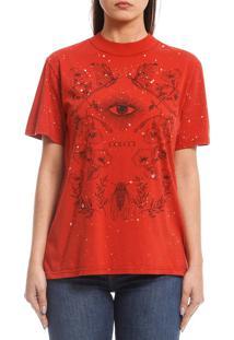 Camiseta Colcci Floral Vermelha - Vermelho - Feminino - Algodã£O - Dafiti