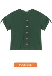 Camisa Plus Size De Botões Verde