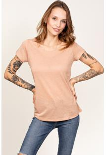 Camiseta Cora Decote Redondo Em Linho Trigo