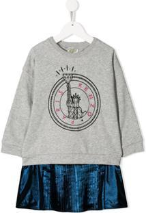 Kenzo Kids Vestido Metalizado - Cinza