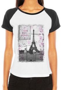 Camiseta Criativa Urbana Raglan Paris Love França Torre Eiffel - Feminino