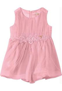Vestido Rosa Claro Evasê Tule & Cetim Carinhoso