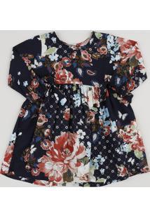Vestido Infantil Tal Mãe Tal Filha Estampado Floral Manga Longa Azul Marinho