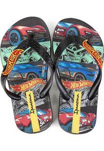 Sandália Infantil Grendene Kids Hot Wheels Tyre Masculina - Masculino-Preto+Vermelho
