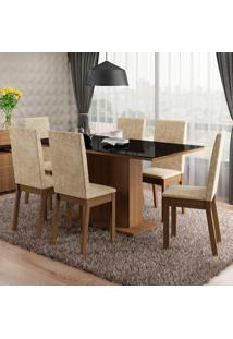 Conjunto Sala De Jantar Romênia Madesa Mesa Tampo De Vidro Com 6 Cadeiras Marrom - Tricae