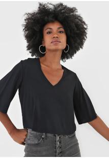 Camiseta Triton Lisa Preta - Preto - Feminino - Viscose - Dafiti