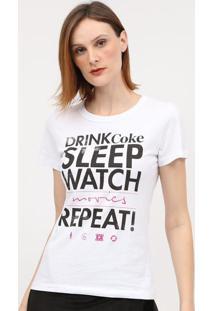 "Camiseta ""Drike Coke Sleep Watch""- Branca & Preta- Ccoca-Cola"