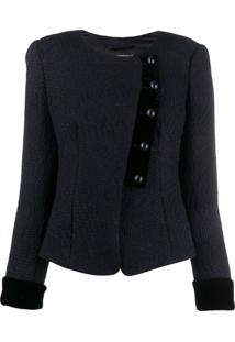 Emporio Armani Fitted Button-Up Jacket - Azul