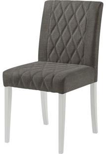 Cadeira Menta Assento Cor Cinza Com Base Laca Branco Fosco - 46458 - Sun House