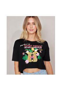 "Camiseta Cropped ""Secret Garden"" Manga Curta Decote Redondo Preta"