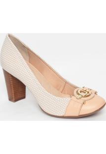 Sapato Em Couro Com Aviamento- Nude & Branco- Salto:Jorge Bischoff