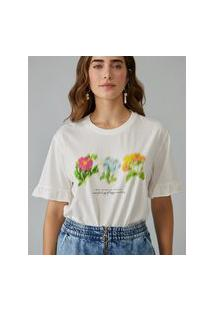 Amaro Feminino T-Shirt Blur Flowers, Off-White