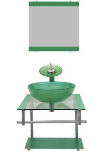 Gabinete De Vidro 40Cm Para Banheiro Croácia Verde Ekasa