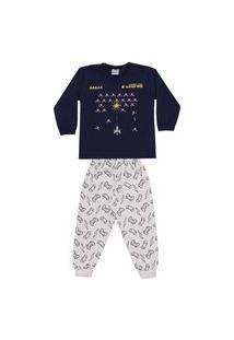 Pijama Infantil Longo Brilha No Escuro Game Dadomile-4