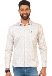 Camisa Docthos Ml Cetim Estampado Branco
