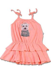 Vestido Infantil Malha Botonê Rustic Fresh Neon Cachorrinho - Salmão 2