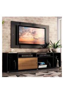 Rack Madesa Cancun E Painel Para Tv Até 58 Polegadas Preto/Rustic D88N Cor:Preto/Rustic/Preto