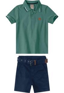 Conjunto Verde Camisa Polo Em Piquê Menino