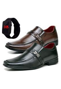 2 Pares Sapato Social Fashion Com Relógio Led Dubuy 827El Preto