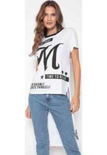 Camiseta Alongada Com Inscriã§Ãµes - Branca & Preta - My Favorite Things