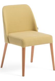 Cadeira Rosini - Base Trigo E Tecido Amarelo