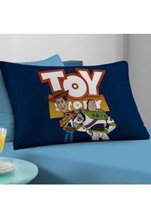 Fronha Avulsa Portallar Malha Estampa Localizada Toy Story Woody E Buzz Disney Azul