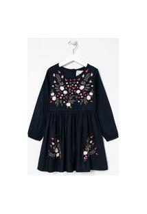 Vestido Infantil Com Bordados Florais - Tam 5 A 14 Anos | Fuzarka (5 A 14 Anos) | Azul | 7-8