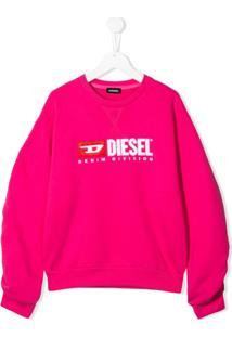 Diesel Kids Suéter Com Logo - Rosa