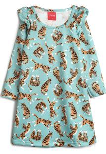 Vestido De Moletom Tricae Infantil Tigre Verde/Laranja