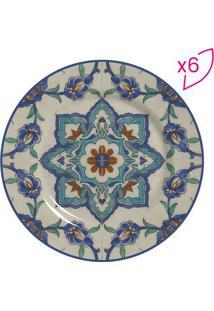 Conjunto De Pratos Para Sobremesa Azulejo- Bege Escuro &Scalla Cerâmica