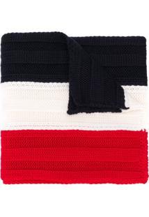 Moncler Cachecol De Tricô Color Block - Vermelho