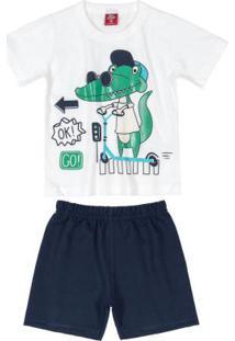Conjunto Infantil Menino Dino Branco