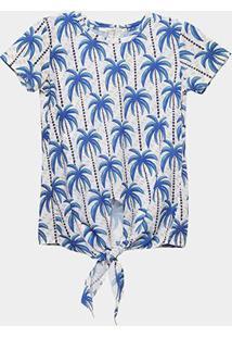 Camiseta Infantil Acostamento Amarração Estampada Feminina - Feminino-Marrom