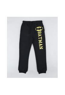 Calça Infantil Batman Em Moletom Preta
