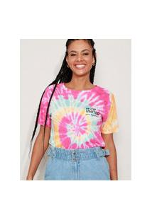 Camiseta Feminina Now United Estampada Tie Dye Manga Curta Multicor