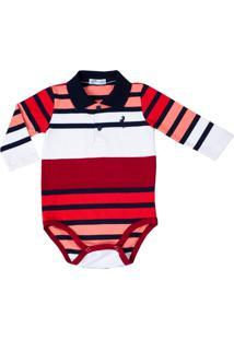 Body Polo Listrado Cotton Lazy Vermelho/Branco/Marinho