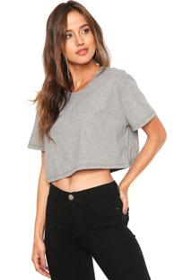Camiseta Cropped Be Red Relevo Cinza