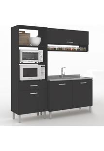 Cozinha Compacta Uccelli 4 Portas 1 Gaveta 600070 Preto - Vedere