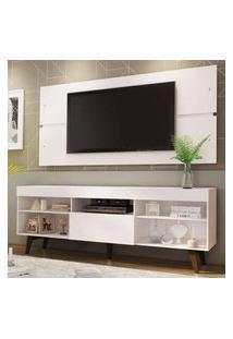Rack Com Painel Para Tv Até 65 Polegadas Madesa Miami Com Pés Branco/Rustic
